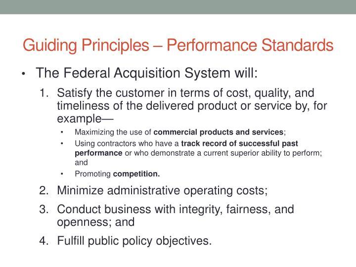Guiding Principles – Performance Standards