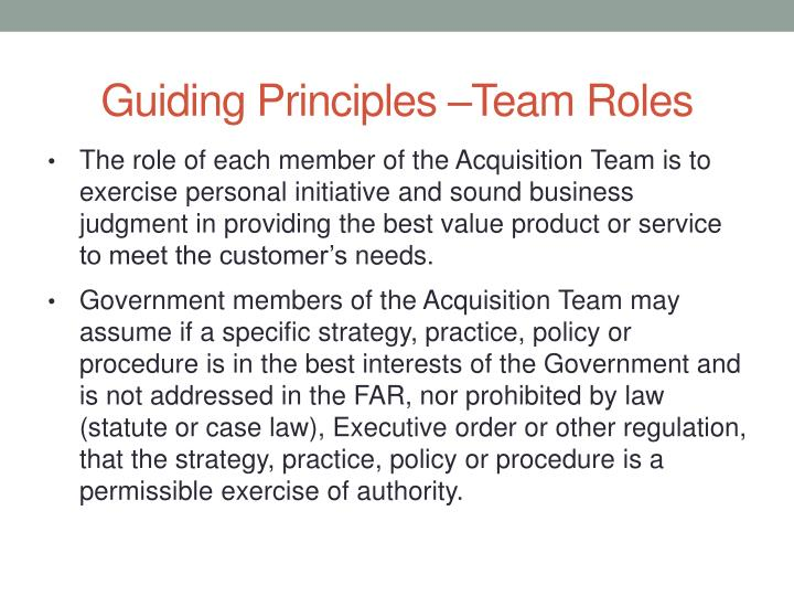 Guiding Principles –Team Roles