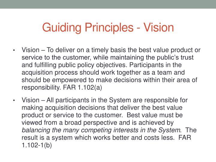 Guiding Principles - Vision