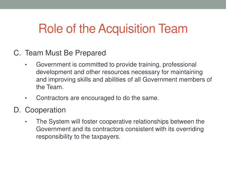 Role of the Acquisition Team
