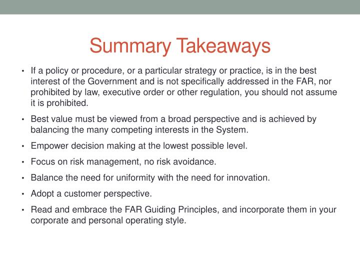 Summary Takeaways