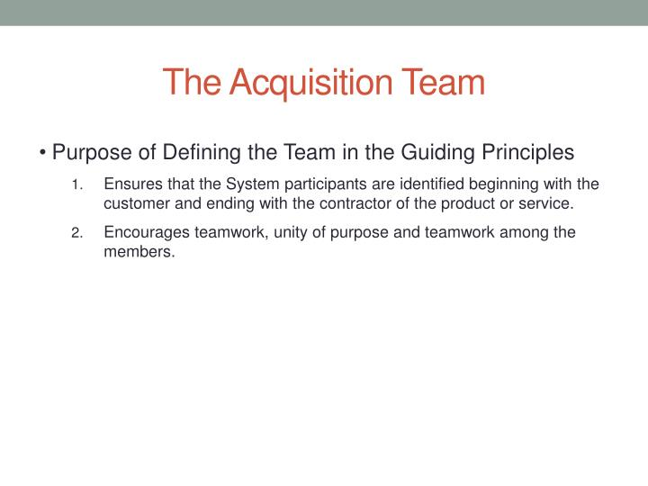 The Acquisition Team
