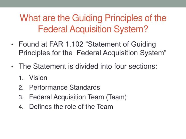 What are the Guiding Principles of the Federal Acquisition System?