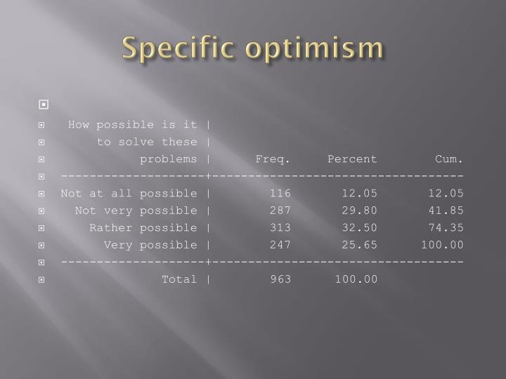 Specific optimism