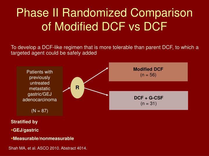 Phase II Randomized Comparison of Modified DCF vs DCF