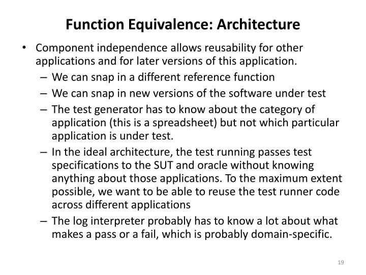 Function Equivalence: Architecture
