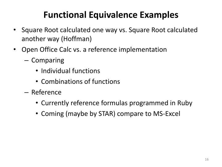 Functional Equivalence Examples