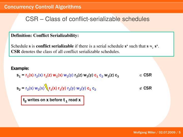 CSR – Class of conflict-serializable schedules