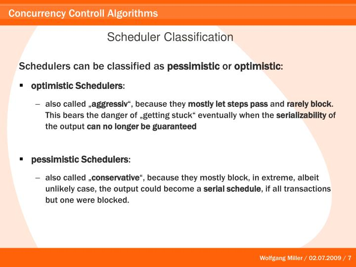 Scheduler Classification