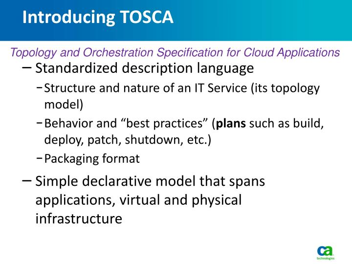 Introducing TOSCA