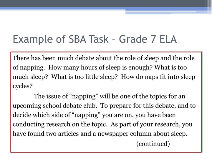 Example of SBA Task – Grade 7 ELA