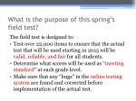 what is the purpose of this spring s field test