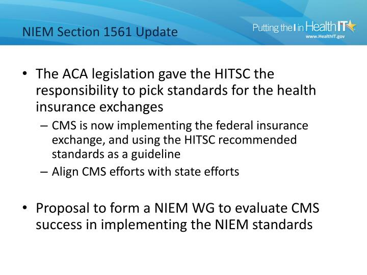 NIEM Section 1561 Update
