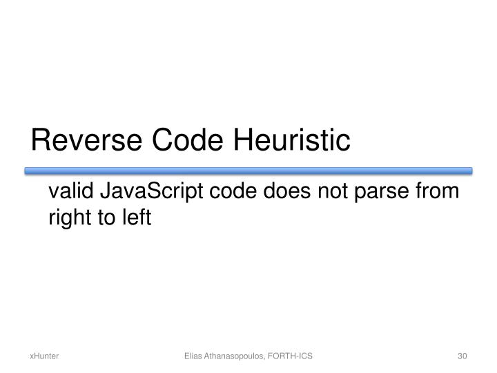 Reverse Code Heuristic