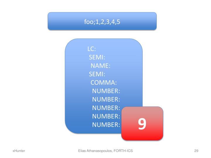 foo;1,2,3,4,5
