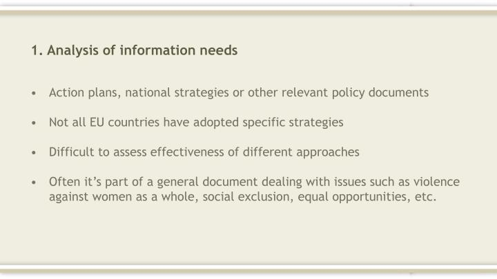 1. Analysis of information needs