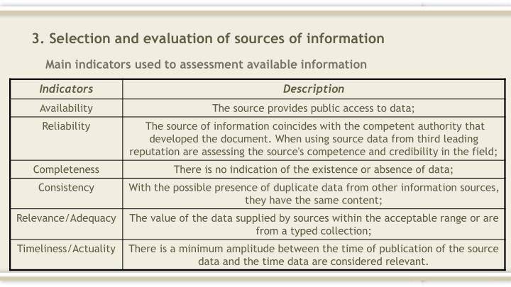3. Selection and evaluation of sources of information