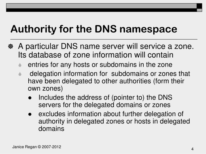 Authority for the DNS namespace