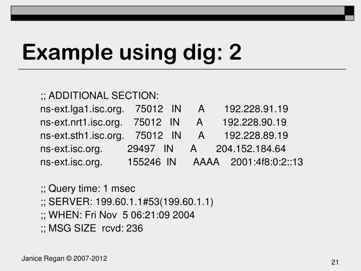 Example using dig: 2