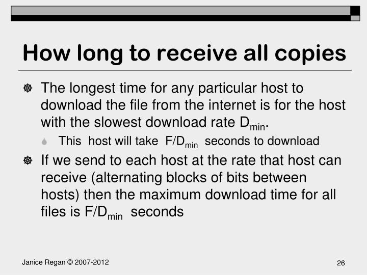 How long to receive all copies