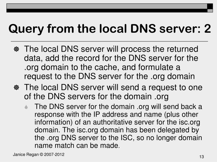 Query from the local DNS server: 2