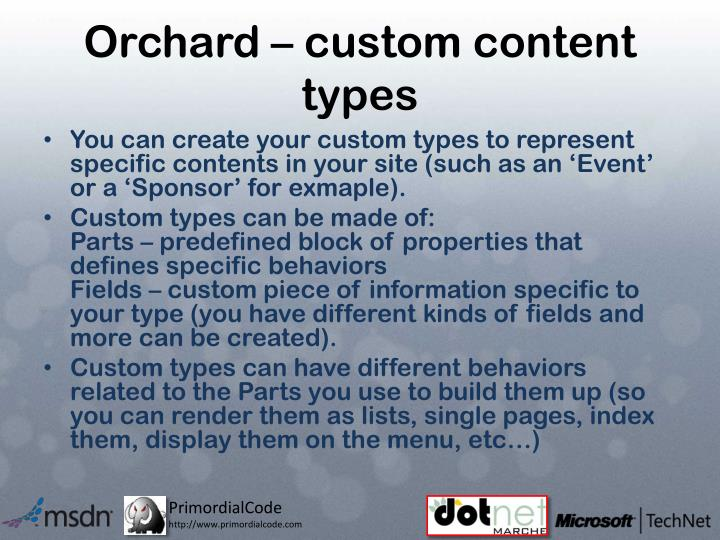 Orchard – custom content types