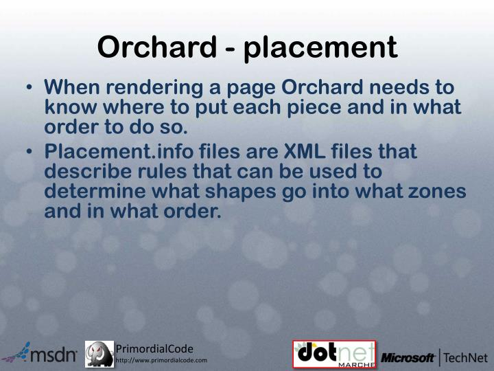 Orchard - placement