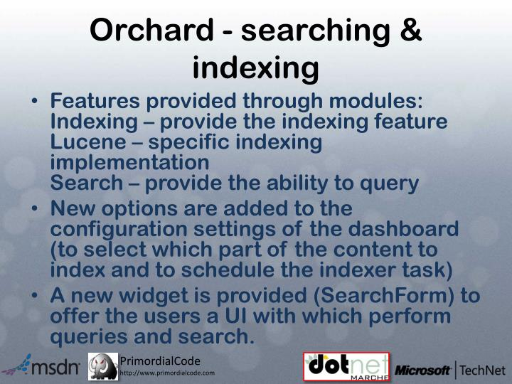 Orchard - searching & indexing