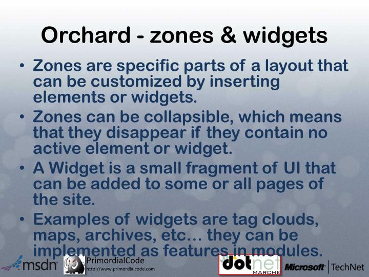 Orchard - zones & widgets