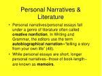 personal narratives literature