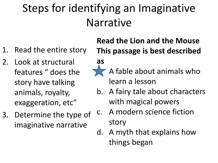 Steps for identifying an Imaginative Narrative