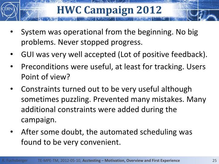HWC Campaign 2012
