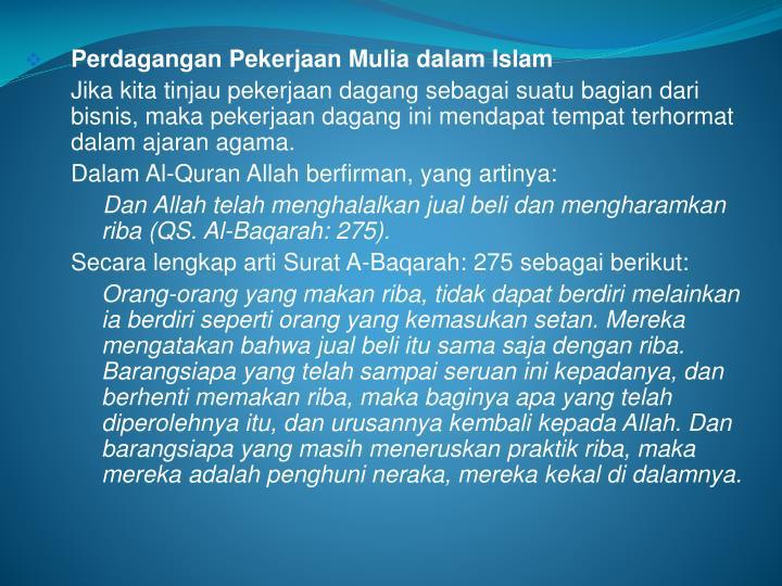 Perdagangan Pekerjaan Mulia dalam Islam