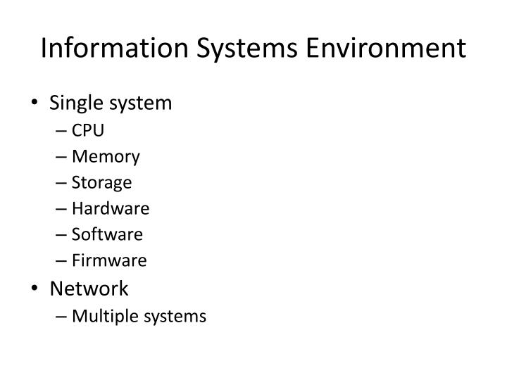 Information Systems Environment