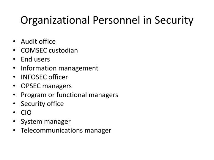 Organizational Personnel in Security