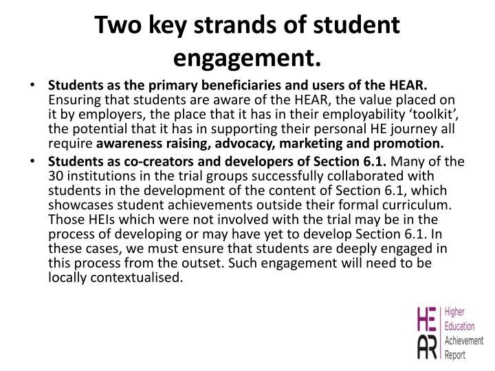 Two key strands of student engagement.