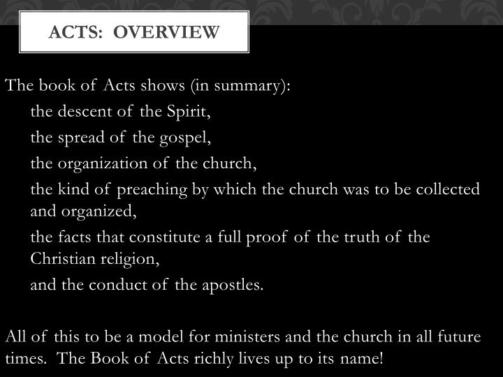 Acts:  Overview