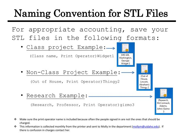 Naming Convention for STL Files