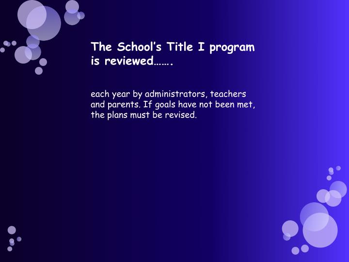 The School's Title I program is reviewed…….