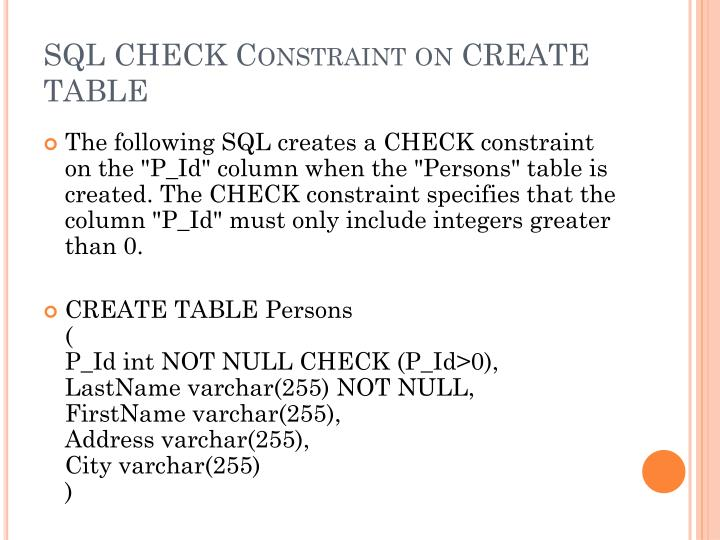SQL CHECK Constraint on CREATE