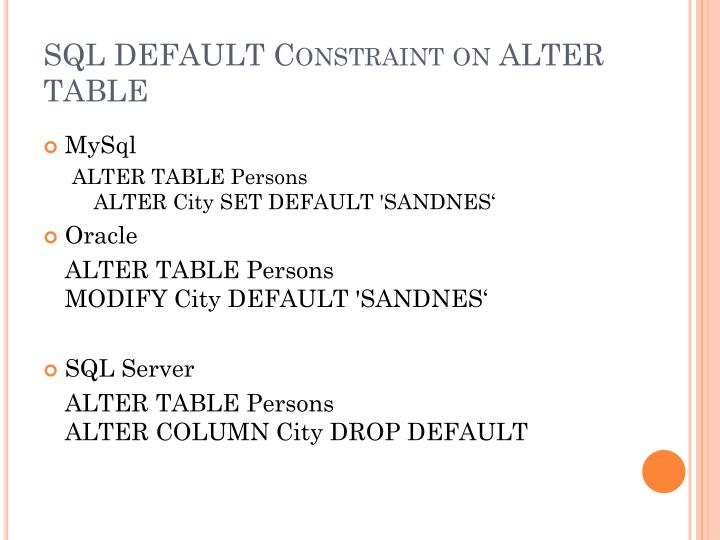 SQL DEFAULT Constraint on ALTER