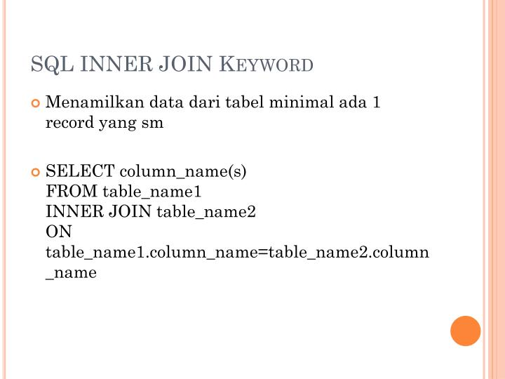 Sql inner join keyword