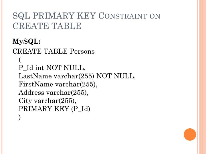 SQL PRIMARY KEY Constraint on CREATE