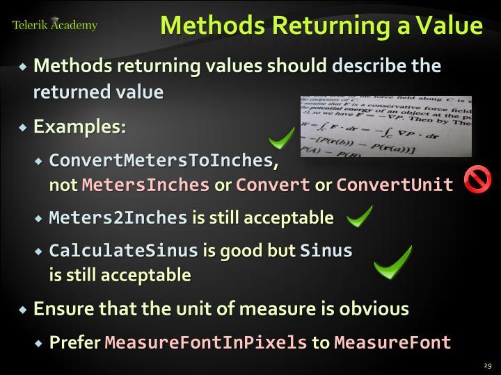 Methods Returning a Value