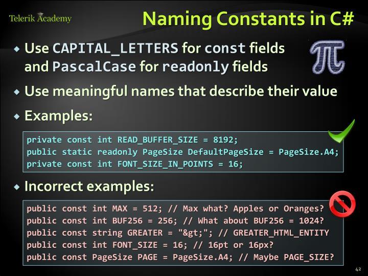 Naming Constants in C#