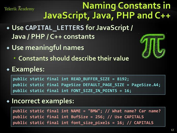 Naming Constants in