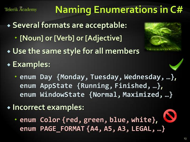 Naming Enumerations in C#