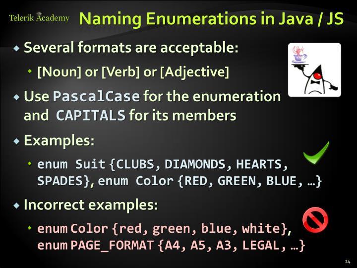 Naming Enumerations in Java / JS
