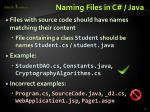 naming files in c java