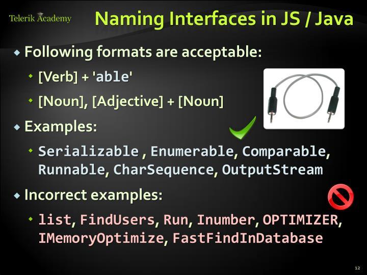 Naming Interfaces in JS / Java